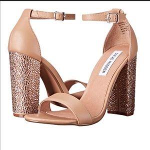 Steve Madden Blush Nude Jeweled Block Heel size 8